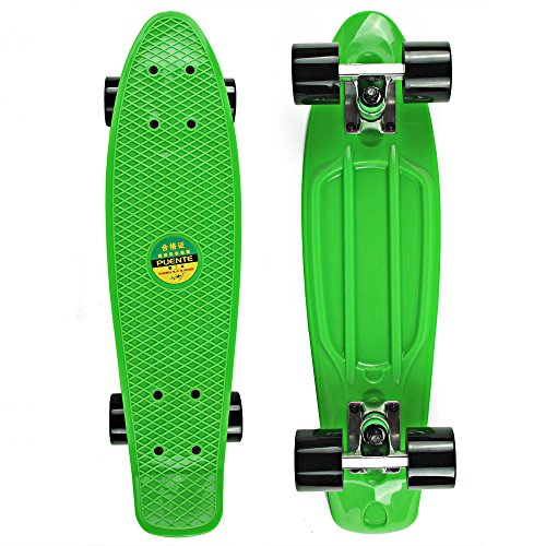 senmi-mini-complete-22-inch-retro-cruiser-plastic-skateboard-single-color-style-with-8-colors-green