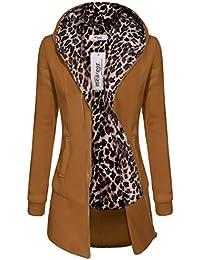 Meaneor Polar Leopardo Lana Zip Largo Mujer Abrigo Chaqueta Invierno con Capucha