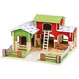 Bigjigs Spielzeug Holz Cobblestone Farm mit Arbeits Gates, EIN Stall, Heuboden