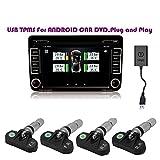 TAFFIO USB Reifendruck Kontrollsystem TPMS für Android Autoradio Navi DVD Multimedia mit 4 Internen Sensoren
