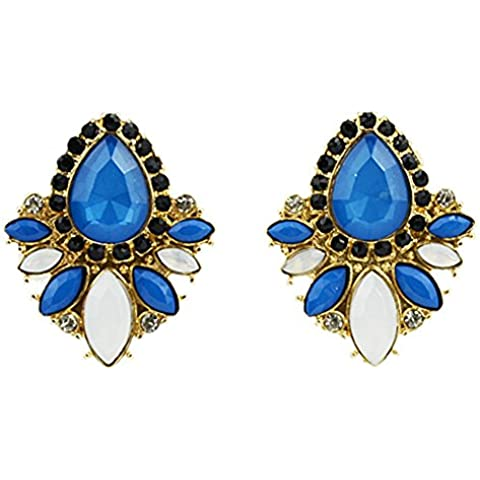 SaySure - Gold Color Blue Big Imitation Gemstone Earring