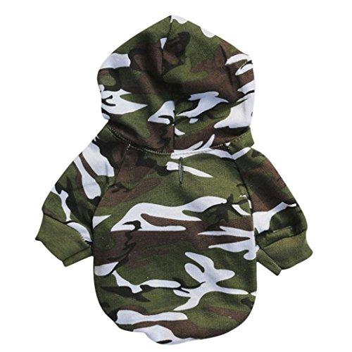 Hündchen Haustier Hund Kleidung Sweatshirts Rosennie Weiches und Bequemes Camouflage Pullover Kostüm Hundemantel Haustier Hundebekleidung Hoodie warme Sweatshirts Puppy Coat Bekleidung (L, Armeegrün)