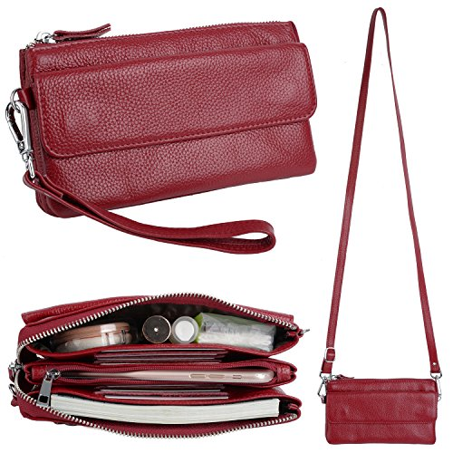 YALUXE Handtasche Damen Echtleder Smartphone Wristlet Crossbody Kupplungtasche mit RFID-Kartenschlitzen Rot -