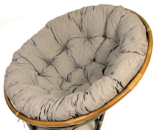 Rattani Polster für Papasansessel, Auflage, Ersatzpolster Papasan D 130 cm, Stoff Loneta dunkel grau