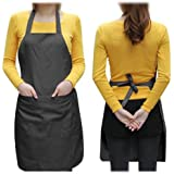 SWT Black Plain Ladyship Apron with Front Pocket for Chefs Butchers Kitchen Cooking Baking Craft