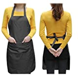 SWT Black Plain Ladyship Apron with Front Pocket for Chefs Butchers Kitchen Cooking Baking Craft by SWT