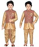 Ahhaaaa Kids Indian Ethnic Waistcoat, Kurta, Breaches and Dhoti Pant Set for Boys_GOLD416-5