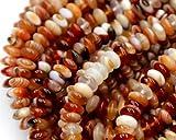 1fili agata Sardonica rosso pizzo bianco naturale rondelle perline bracciali gioielli collana 4x 8mm 38,1cm 03302