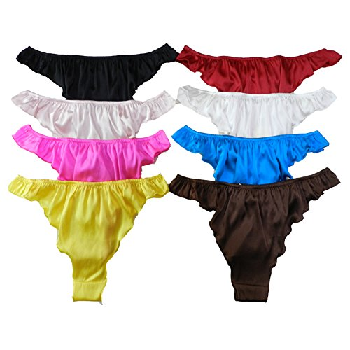 b1b2c53202fc Panasilk Women's Silk Thong Panties 8 Pairs in One Economic Pack (M,  Multicoloured)
