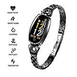 KFX Fitness Armband ios für Damen,Luxus Armband mit Herzfrequenz Wasserdicht IP67 Fitness Sport überwachung Intelligente Tracker Mädchen für iPhone Android Handy (Schwarz)
