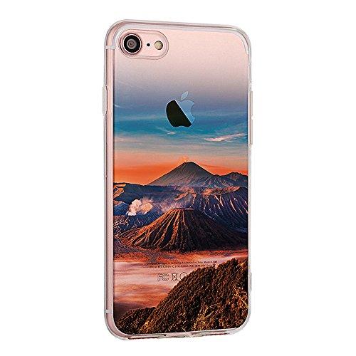 """Handyhülle für 4.7"""" Apple iPhone 7, iPhone 7 Klare Motiv Case, CLTPY Luxus Schlank Hybrid Silikon Stoßfest Schale Cover, Malerei 3D Landschaft Series TPU Fall-Abdeckung für iPhone 7 + 1 Stylus - Elch Vulkanisch"""