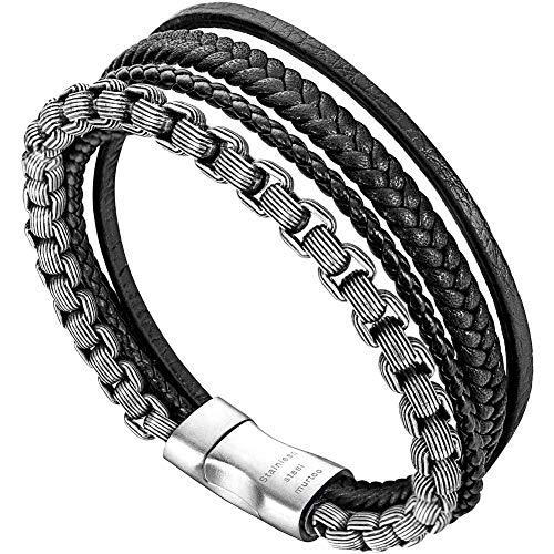 Murtoo bracciale uomo acciaio braccialetto pelle e pietra naturali con chiusura magnetica pacco regalo (nero e argento)
