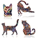 Unigift Lot de 4 Broches décoratives en Forme de Chat Motif Fleurs en Acrylique