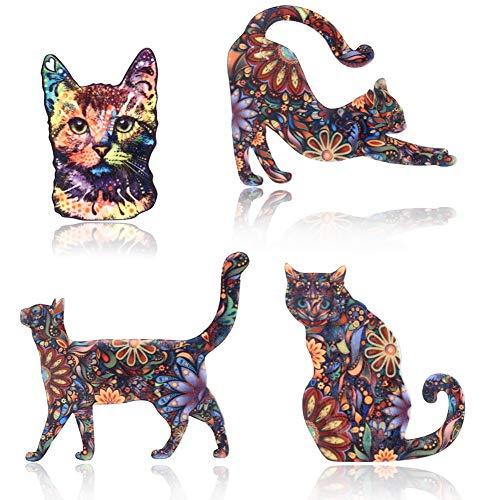 Unigift 4 Stück Kreative Katze Muster Brosche Anstecknadel Acryl Blumen Aufkleber Anstecknadel Anstecknadel Set für Geschenk Tägliche Kleidung Kleidung Dekoration