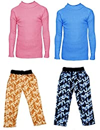 IndiStar Boys Combo Pack For Winter(Pack of 2 Printed Lower and 2 Wollen Full Sleeves T-Shirt/Inner/Skivvy )_Pink::Sky Blue::Multicolor_6-7 Years_360181910110-0607-IW-P4-28