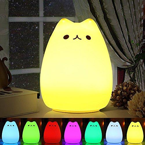Veilleuse LED, Omitium LED Chat Veilleuse Silicone Veilleuse de Bébé Portable Enfant Veilleuse avec 7 Couleurs de Nuit Lampe de Chevet USB Rechargeable Veilleuse