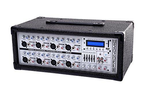 Pronomic PM83U Powermischer (USB, SD, Bluetooth MP3-Player, digitales Effektgerät, 300 Watt) mit integriertem Verstärker