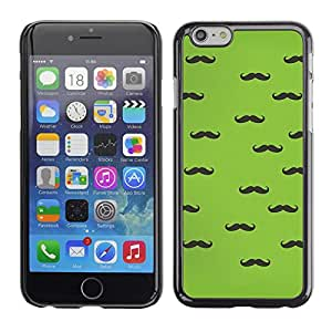 Omega Covers - Snap on Hard Back Case Cover Shell FOR Iphone 6/6S (4.7 INCH) - Handlebar Moustache Green Black Hipster