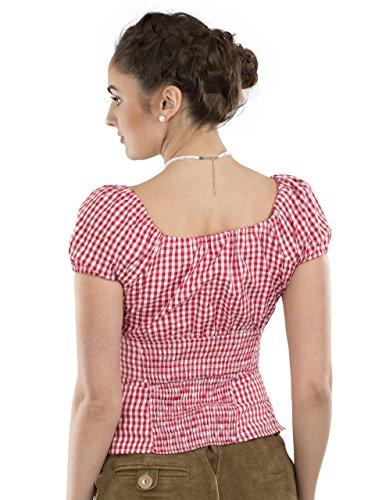Trachtenbluse Damen Wiesnzeit rot weiss - Dirndl Lederhose Bluse - Trachten  Carmenbluse rot weiss ... ce15e3b7f7
