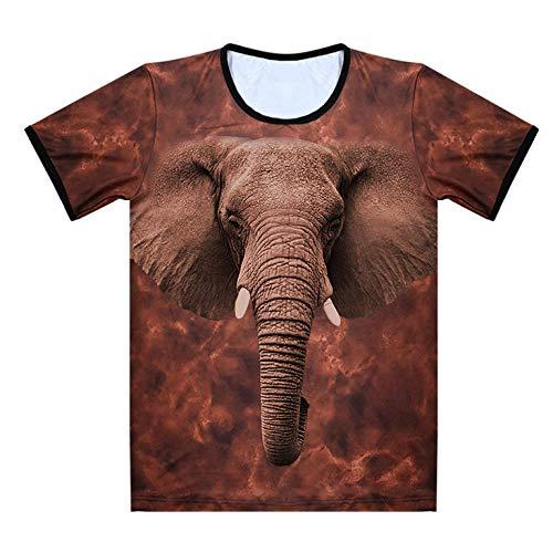 Camisa 3Dt 3Dt Animal Camiseta con Cuello Redondo Personalidad de Verano Camiseta 3D Elefante -Ds1 Número 1L