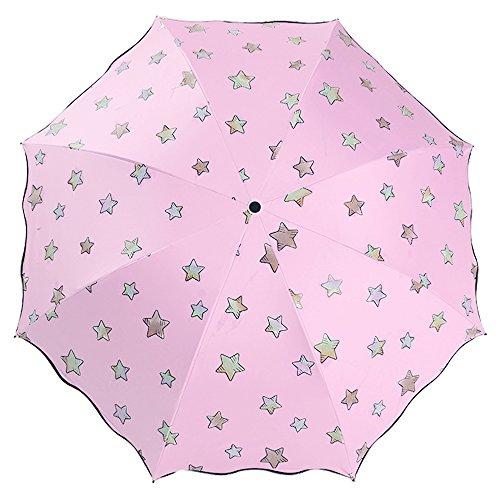 Lirener Farbwechsel Regenschirm, Faltbar Kompakt Vinyl Sonnenschirm UV-Schutz Winddicht Regenschirm, die Farbe Wechseln bei Nässe Windfest, Kompakte Design, 8 Verstärkten Rippen, in Sterne-Form