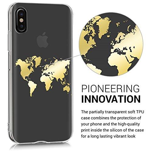 kwmobile Cover per Apple iPhone X - Custodia in silicone TPU - Back case protezione posteriore per cellulare rosso scuro metallizzato Contorno mappamondo IMD oro trasparente