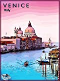 ABLERTRADE - Targa da Parete in Metallo con Scritta Venezia, Italia, Italia, City of Water Travel Advertisement, 20 x 30 cm
