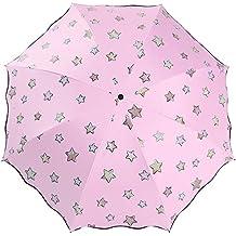 Lirener Paraguas de Cambio de Color(Estrella), Paraguas Plegable para Viaje con 8