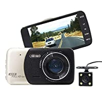 4 Inch Touch screen Dual Lens Car DVR Dash Cam Camera Camcorder Rear Video HD 1080P LED Night Vision/Motion Detection/Loop Recording