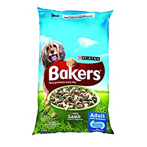 Bakers Complete Dog Food Tender Meaty Chunks Tasty Lamb and Country Vegetables, 14 kg