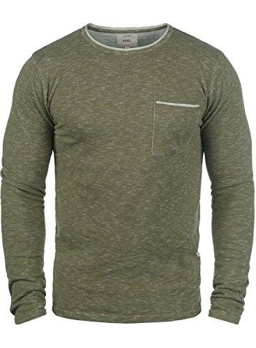 Redefined Rebel Maverick Herren Strickpullover Feinstrick Pullover Mit Rundhals Und Brusttasche Aus 100% Baumwolle, Größe:L, Farbe:Dark Olive