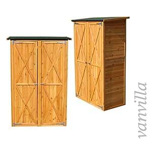 vanvilla ger teschuppen holz flachdach gro naturfarben ger tehaus gartenschrank garten. Black Bedroom Furniture Sets. Home Design Ideas