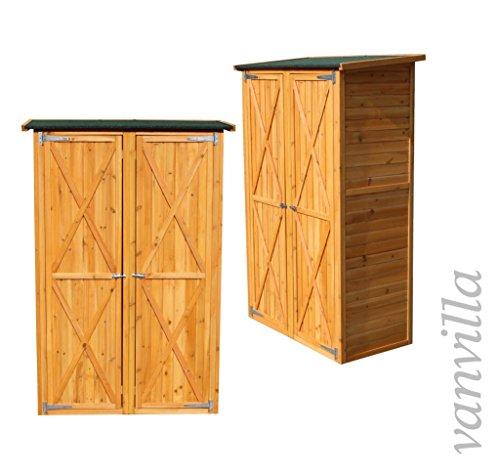 vanvilla Geräteschuppen Holz Flachdach Groß Naturfarben Gerätehaus Gartenschrank