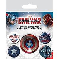 Capitán América - Civil War, 1 X 38mm & 4 X 25mm Chapas Set De Chapas (15 x 10cm)