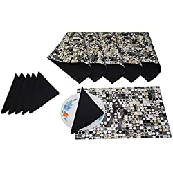Lushomes Coins Print 6 Reversible Cotton Mats & 6 Plain Cotton Napkins