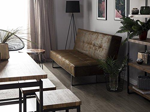 divano letto in pelle stile vintage.