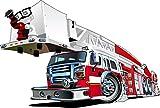 Stickersnews - Sticker enfant Camion de Pompier 3551 Dimensions - 10 cm...