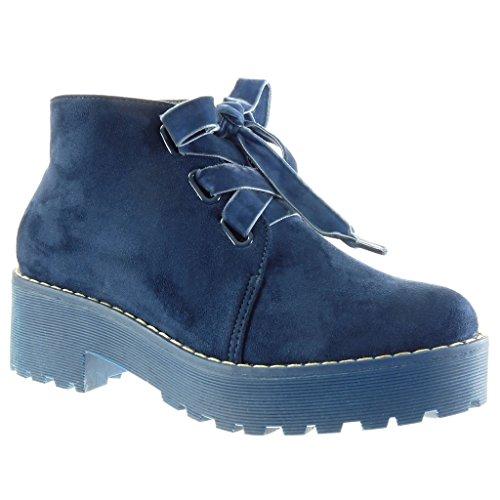 Angkorly Damen Schuhe Derby-Schuh - Combat Boots - Biker - Plateauschuhe - Fertig Steppnähte Blockabsatz High Heel 5 cm Blau