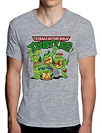 The Turtles Teenage Mutant Ninja Funny Logo Graphic Design Men's V-Neck T-Shirt Herren