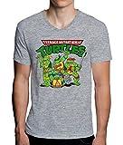 The Turtles Teenage Mutant Ninja Funny Logo Graphic Design Men's V-Neck T-Shirt Medium