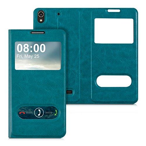 kwmobile Flip Case Hülle für Huawei Ascend G620s mit Sichtfenster - Aufklappbare Kunstleder Schutzhülle im Flip Cover Style in Türkis