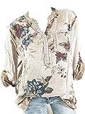 Yvelands Frauen Plus Size V-Ausschnitt Print Langarm Pailletten Bluse Pullover Tops Shirt