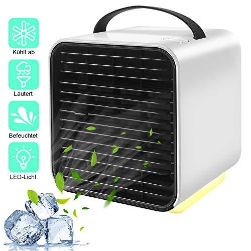 Mobile Klimageräte, StillCool Mini Persönliche Klimaanlage Kleine Luftkühler Luftbefeuchter Luftreiniger, 3 Leistungsstufen 7 Verschiedene Farben 3 in 1 Tragbare lventilator