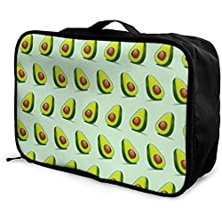 Qurbet Sacs de Voyage,Sac à Main, Portable Luggage Duffel Bag Avocado Pattern Travel Bags Carry-on in Trolley Handle