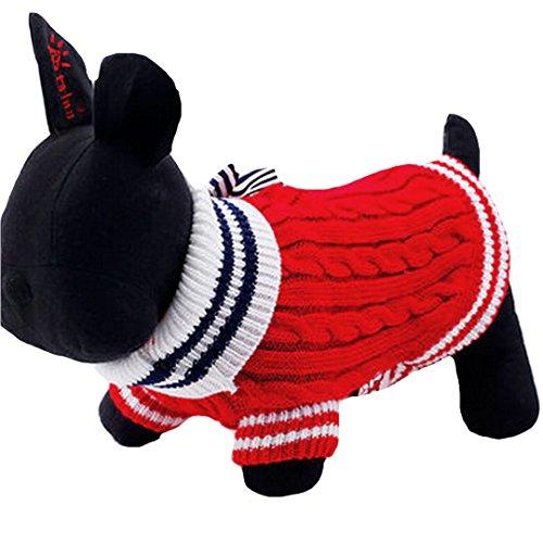 AiSi Hund Pullover Hündchen Strickjacke Jacke Hunde-T-Shirt, Haustier Kleidung für kleine Hunde mit Schleife rot (Kostüme Keine Melden)