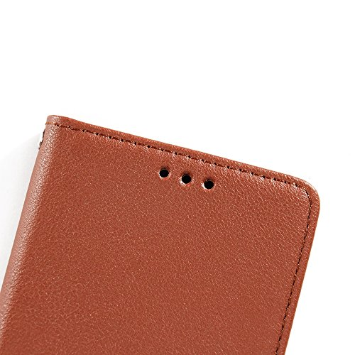 Klassische verkaufte Farbe PU-lederne Beutel-Kasten-Abdeckung, Bookstyle Folio-Standplatz-Mappen-Kasten mit Einbauschlitzen u. Lanyard für iPhone 6 u. 6s ( Color : Red ) Brown
