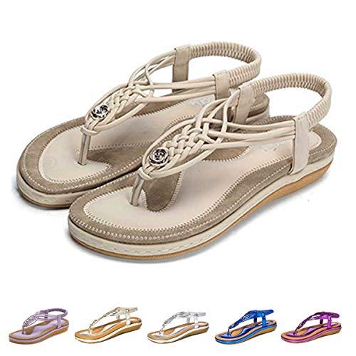 Sandalen Große Füße (Camfosy Damen Flach Sommer Sandalen,Frauen Strand Elastischen Gemütlich Webmuster Schuhe Knöchelriemchen FreizeitUrlaub rutschfest Sommerschuhe - Schwarz Blau Beige Beige 40 EU)