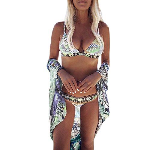 VJGOAL Damen Bikini Set, Bikini Damen Set Push Up Frauen Mädchen Sexy Beachwear Badeanzug mit Böhmischer Dreiecktasche und Bedrucktem Riemen Badebekleidung (Mehrfarbig,L) (Frauen Mäntel Winter Calvin Klein)