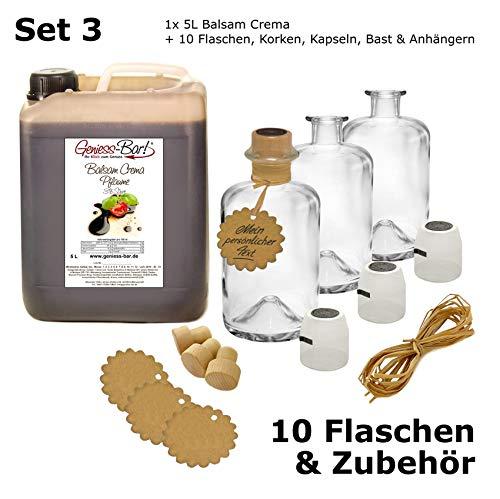 5l Anhänger (Balsamico Creme Pflaume 5L + 10 Flaschen, Korken, Kapseln, Bast & Anhänger)
