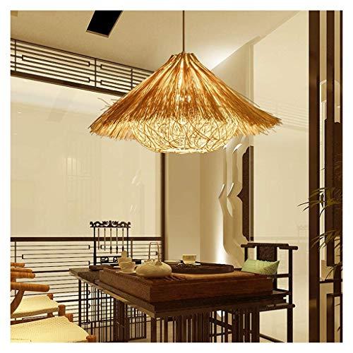 Xungzl Bambus Lampenschirm Geflochtene Rattan Bambus Lampe Hängelampe Moderne Natürliche Schlafzimmer Wohnzimmer for küche Zimmer Deckenleuchter E27 (Größe : L) -